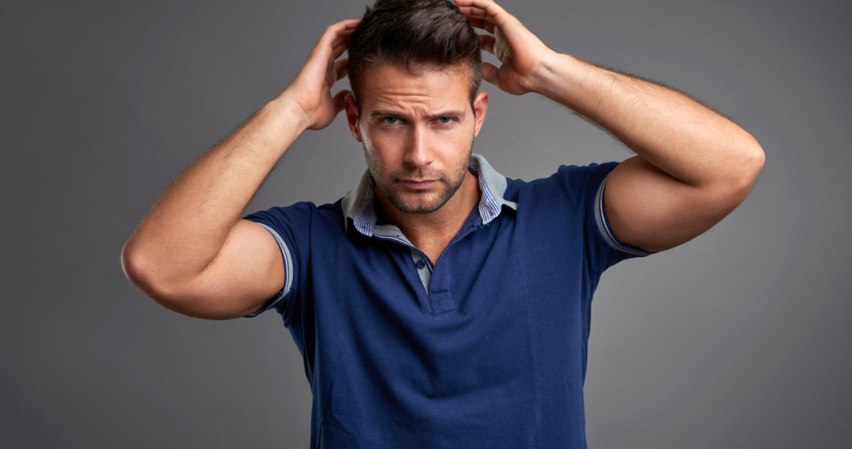 mature man happy with scalp maintenance results