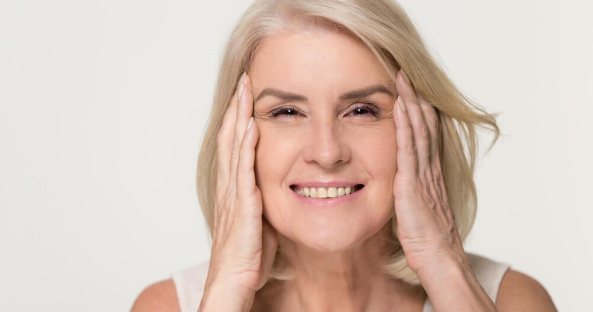 mature woman following scalp maintenance advice