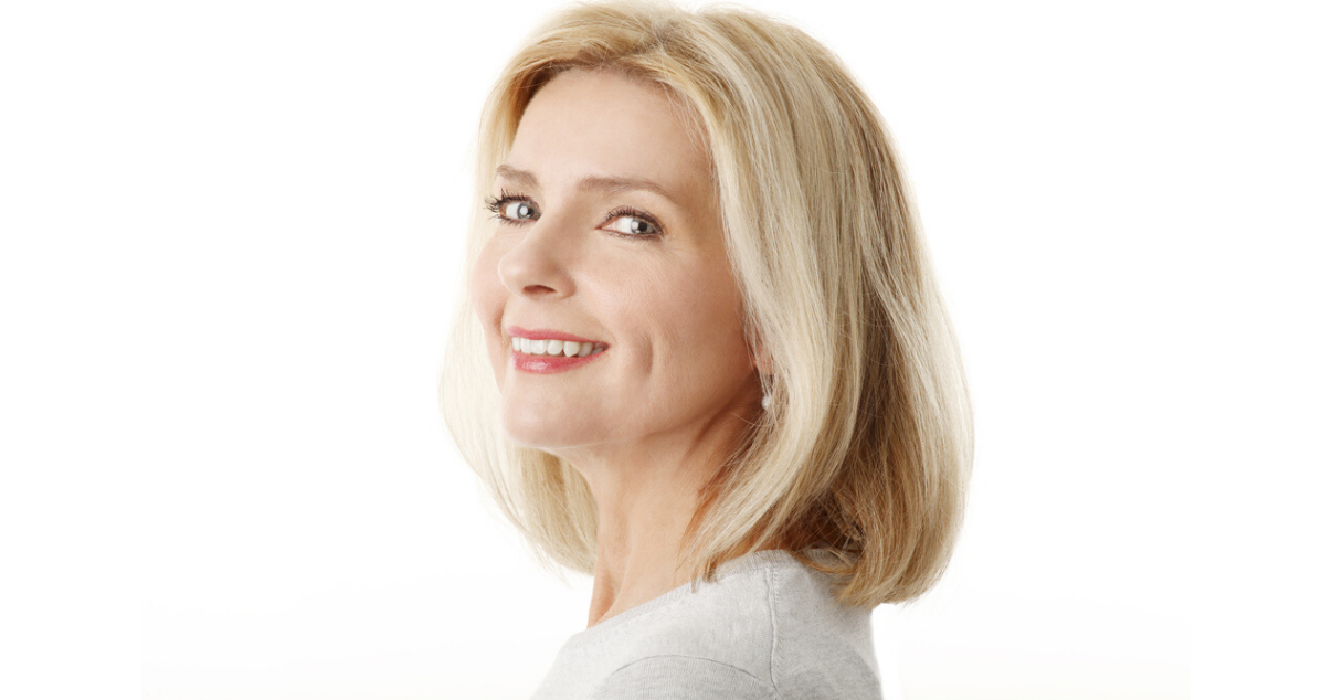 middle aged woman with easy hairpiece care routine  (1)