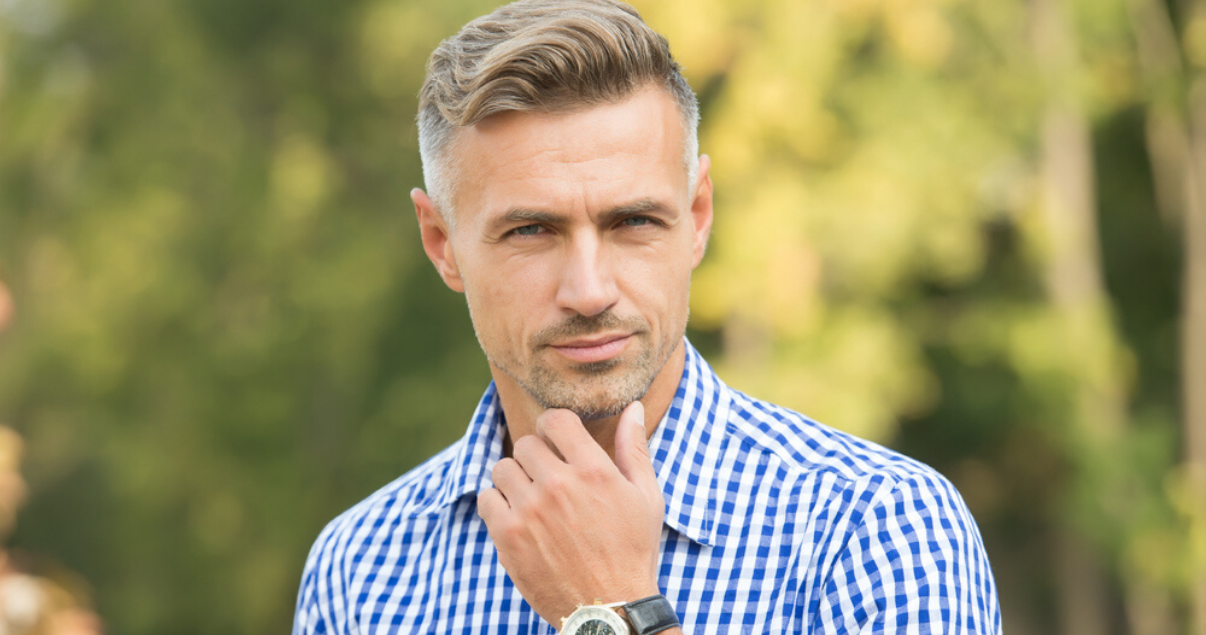 Middle aged man with short hair system for men