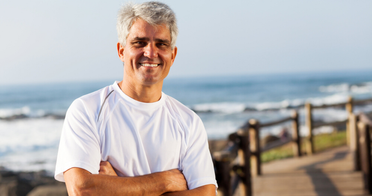 mature man wearing short hair system for men