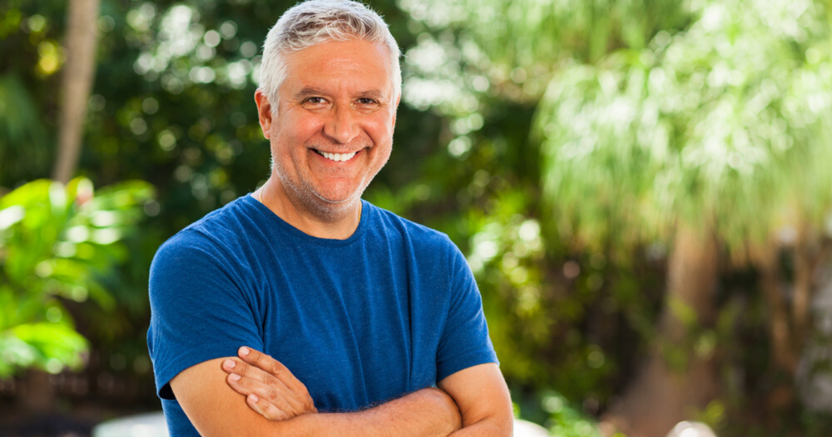 Middle aged man wearing clean high quality hairpiece