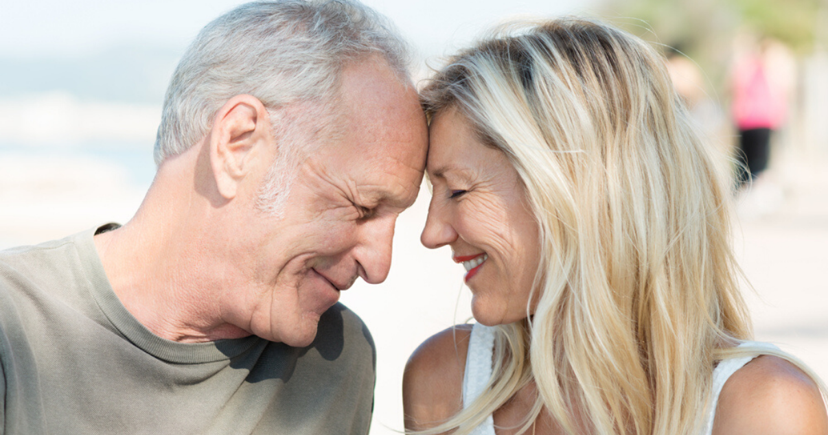 Senior couple happy with hair systems