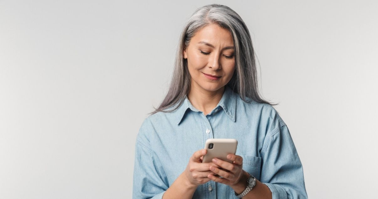 Mature woman wearing best hair system