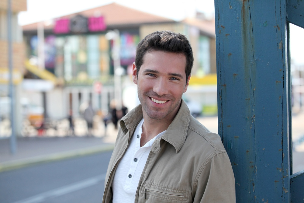 Portrait of handsome man standing in town